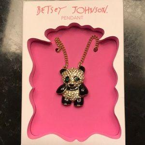Betsey Johnson Sparkling Rhinestone Panda Necklace